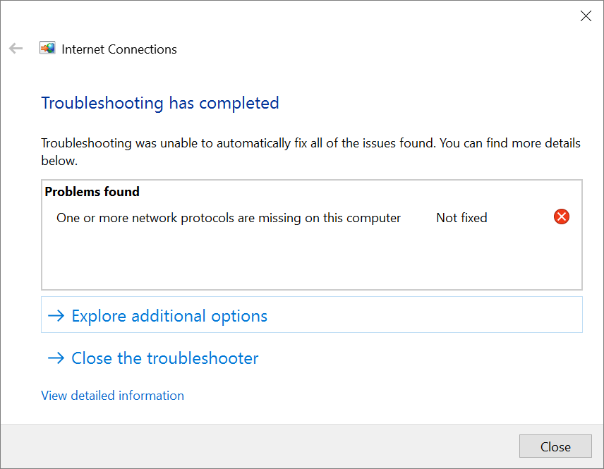 Windows 10 Network Troubleshooter says 'NO'