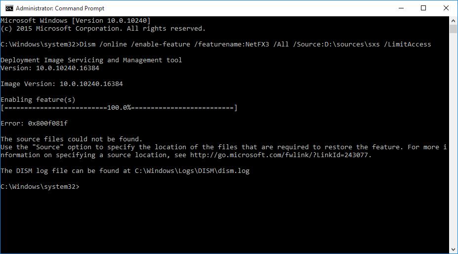 DSIM error installing .net 3.5 on Windows 10.