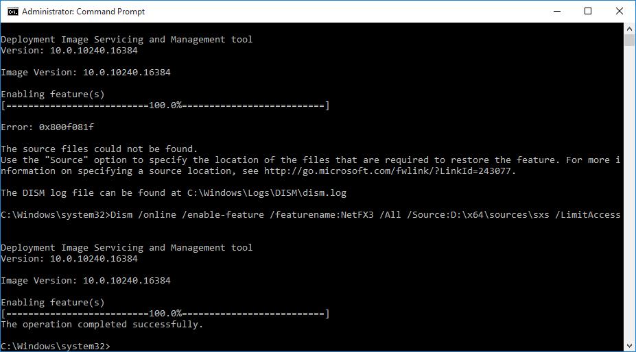 Correct path to install .NET 3.5 via DISM command line